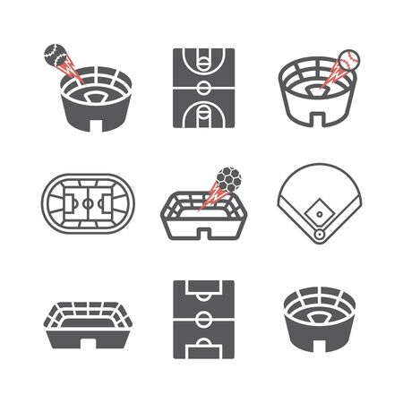 Stadium icons set. Vector signs for web graphics