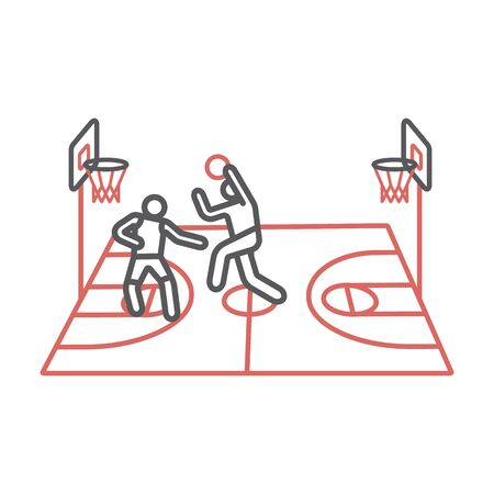Players play basketball line icons. Vector signs for web graphics. Ilustrace