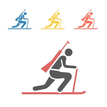 Biathlon flat icon. Winter game. Vector signs for web graphics