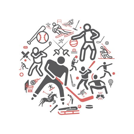 Kinds of Sports banner icons set. Vector signs for web graphics. Ilustrace