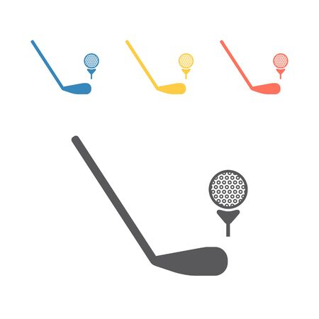 Golf Ball And Putter Icon. Vector signs for web graphics. Ilustrace