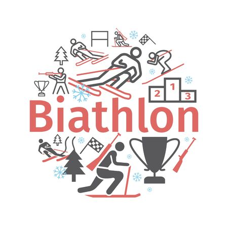 Biathlon banner. Line icon. Vector signs for web graphics.