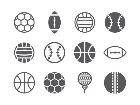 Ball icons set. Vector sport signs for web graphics. Ilustrace
