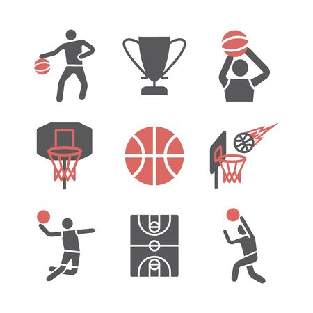 Basketball flat icons. Vector signs for web graphics. Ilustrace