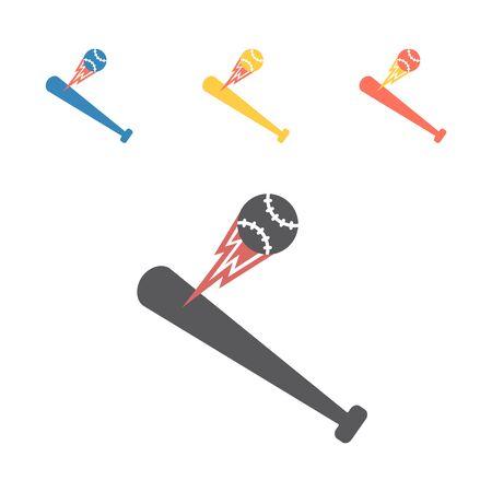 Baseball bat and ball icon. Vector signs for web graphics.