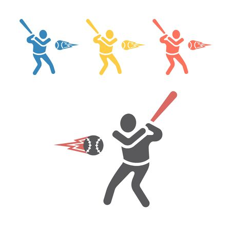 Baseball player icon. Vector sport signs for web graphics.