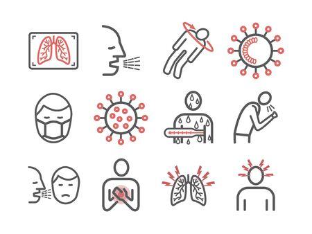 Coronaviridae line icons. Symptoms. Vector signs for web graphics
