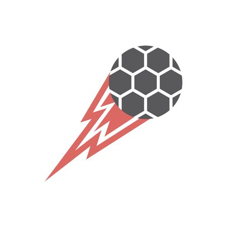 Flying soccer ball. Vector signs for web graphics