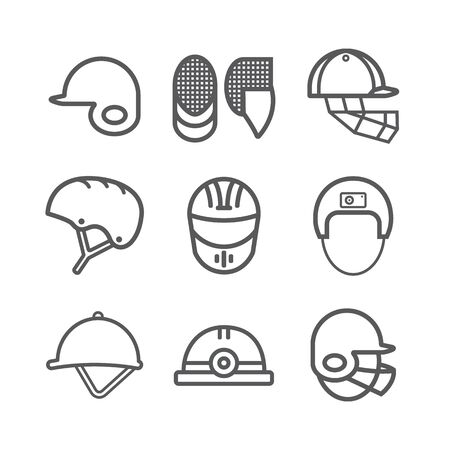 Helmet set line icons. Vector signs for web graphics Ilustrace