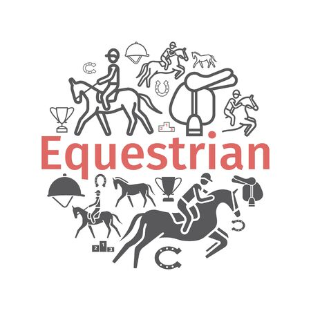 Horse banner icons set. Equestrian. Vector signs for web graphics Ilustrace