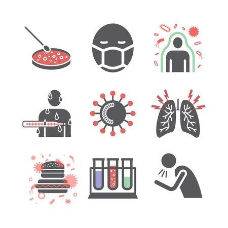 Coronaviridae icons. Symptoms. Vector signs for web graphics.