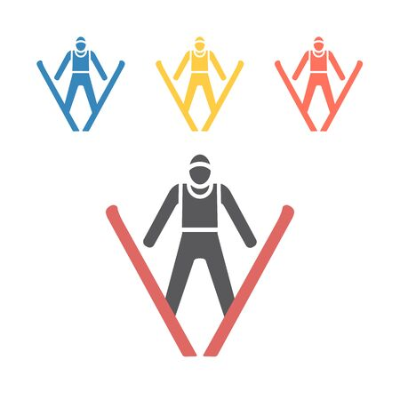 Jumping skier icon. Vector signs for web graphics