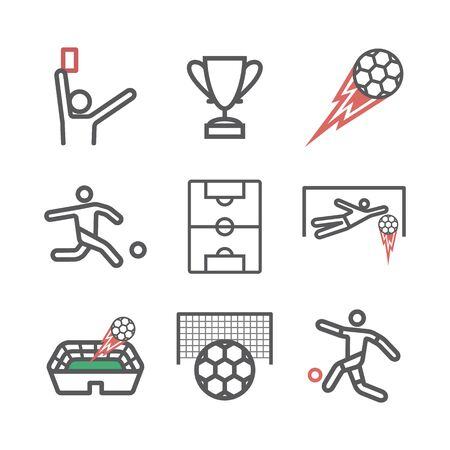 Football Soccer Line icon. Vector signs for web graphics Çizim