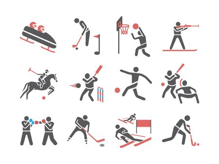 Kinds of Sports flat icons set. Sports players. Vector signs for web graphics Illustration
