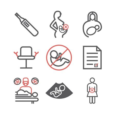 Abortion line icons set. Vector signs for web graphics. Standard-Bild - 142346920