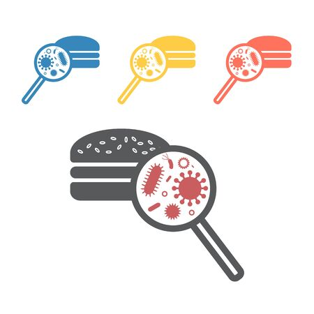 Food microbes icons. Vector signs for web graphics