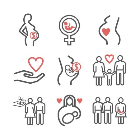 Surrogacy line icons set. Vector signs for web graphics