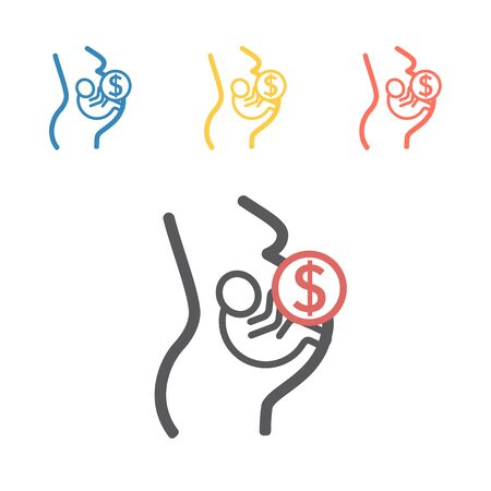 Surrogacy line icon. Vector signs for web graphics. 向量圖像