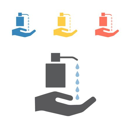 Hand hygiene with cleaning product. Vector signs for web graphics.
