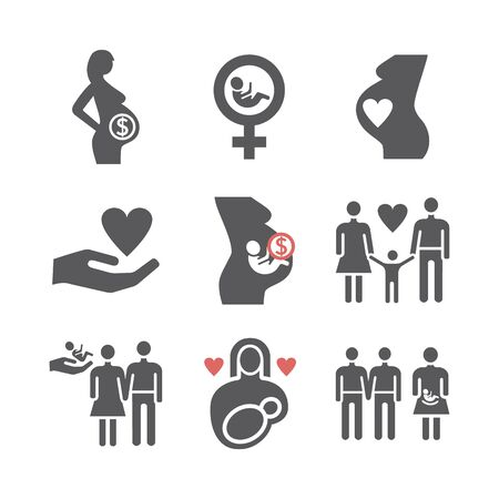 Surrogacy icons set. Vector signs for web graphics Ilustrace