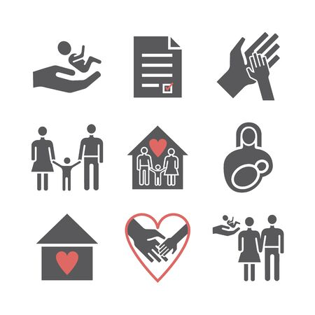 Adoption icons set. Vector signs for web graphics
