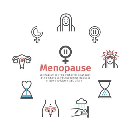 Menopause line icons. Infographics. Woman Sickness. Vector signs for web graphics