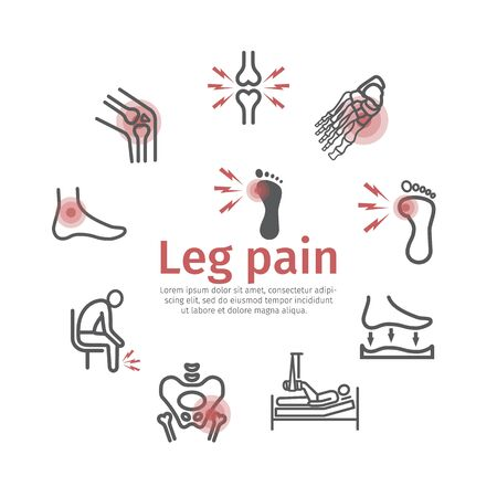 Leg pain. line icons. Infographics. Foot problems. Vector signs for web graphics. Vectores