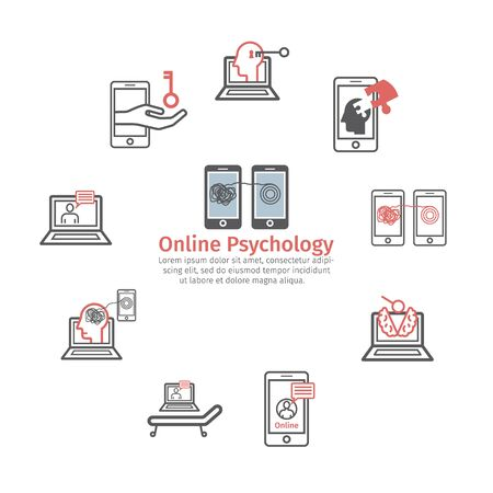 Psychology online concept icon. Psychotherapeutic session. Chat with psychologist. Vector sign for web graphic.