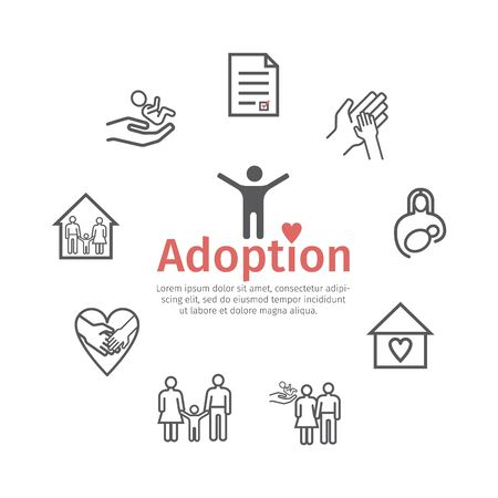 Adoption line icons set. Infographics. Vector signs for web graphics