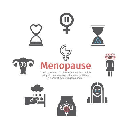 Menopause flat icons. Infographics. Woman Sickness. Vector signs for web graphics