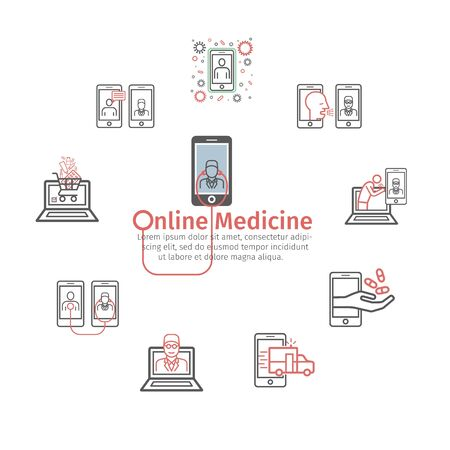 Online medicine line icons. Infographics. Video communication with doctors. Vector signs for web graphics Ilustracja