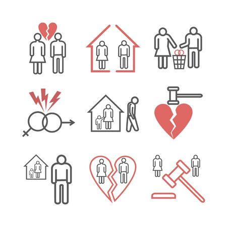 Divorce line icons. Vector signs for web graphics Ilustracja