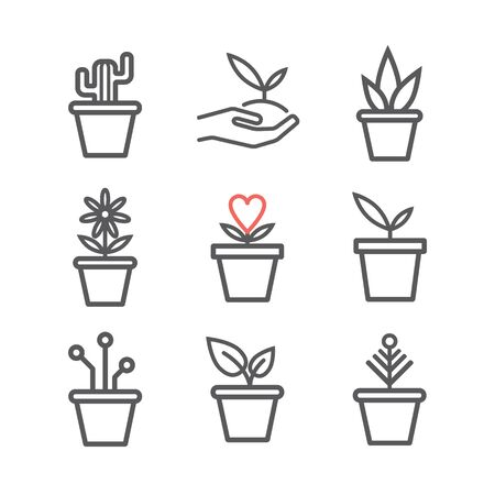 Set of plants in a pot. Line icons. Vector signs for web graphics.