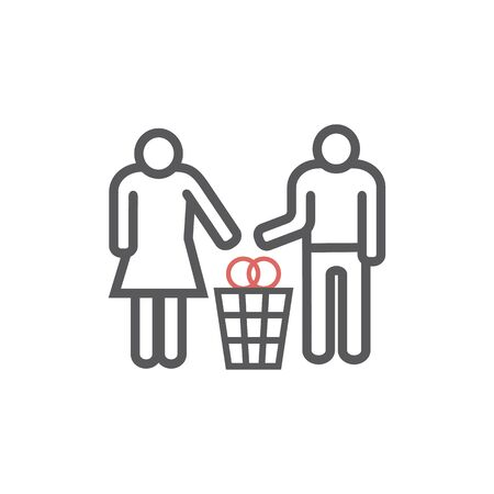 Divorce line icon. Vector signs for web graphics