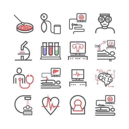 Medical diagnostic line icons set. Health center. Vector sign for web graphics. Иллюстрация