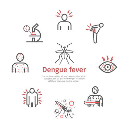 Dengue fever line icons set. Vector signs for web graphics.