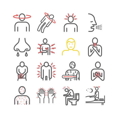 Disease symptoms line icons. Vector sign for web graphics.