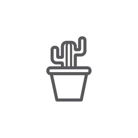 Plant pot cactus line icon. Vector signs for web graphics.