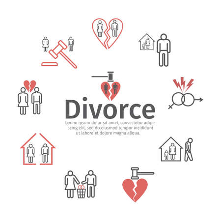Divorce line icons. Vector signs for web graphics Иллюстрация