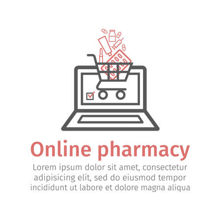 Online pharmacy line icon. Vector sign for web graphic. Иллюстрация
