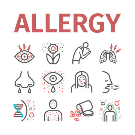Allergy symptoms line icons infographic. Vector sign for web graphic. Иллюстрация