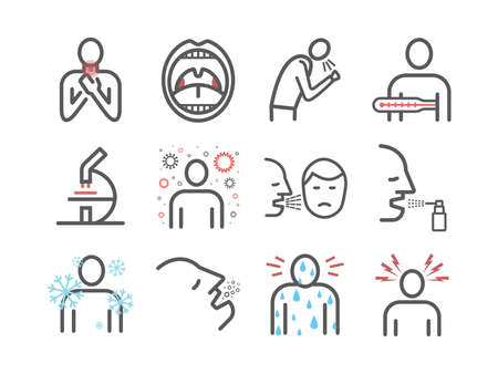 Tonsillitis. Symptoms, Treatment. Line icons set. Vector signs for web graphics. Фото со стока - 157643981