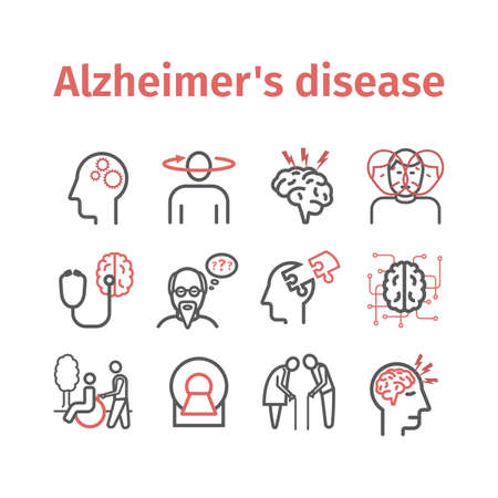 Alzheimers disease and dementia. Symptoms. Line icons set. Vector signs for web graphics.