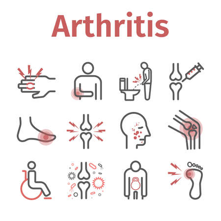 Arthritis. Symptoms, Treatment. Line icons set. Vector signs for web graphics. Vector Illustration