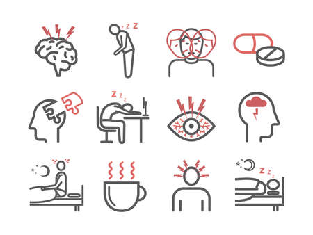 Insomnia, Symptoms. Line icons set. Vector signs for web graphics. 矢量图像