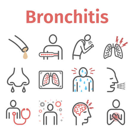Bronchitis line icons. infographic symbol. Vector sign for web graphic.