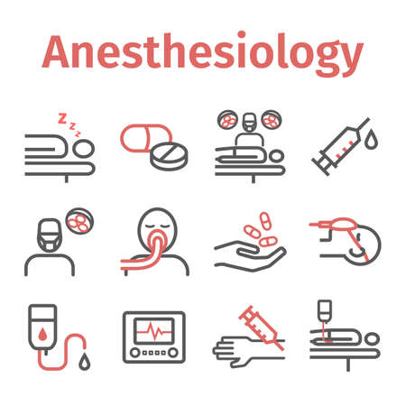 Anesthesia line icons. Anaesthetic Department. Health center. Vector sign for web graphics.