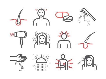 Hair Loss. Line icons set. Vector signs for web graphics. Infographics