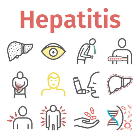 Hepatitis line icon Infographics. Vector signs for web graphics.
