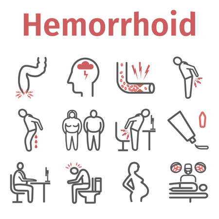 Hemorrhoids line icon Infographics. Vector signs for web graphics.